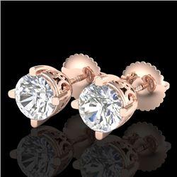 1.5 CTW VS/SI Diamond Solitaire Art Deco Stud Earrings 18K Rose Gold - REF-318T2M - 37230