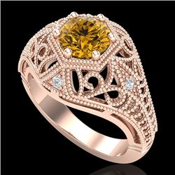 1.07 CTW Intense Fancy Yellow Diamond Engagement Art Deco Ring 18K Rose Gold - REF-254A5X - 37554
