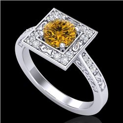 1.1 CTW Intense Fancy Yellow Diamond Engagement Art Deco Ring 18K White Gold - REF-140F9N - 38155