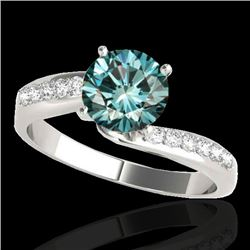 1.15 CTW Si Certified Fancy Blue Diamond Bypass Solitaire Ring 10K White Gold - REF-149H3A - 35068
