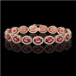 21.71 CTW Tourmaline & Diamond Halo Bracelet 10K Rose Gold - REF-338F9N - 40620