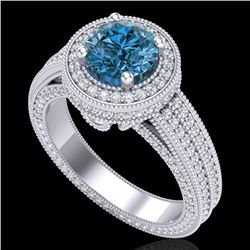 2.8 CTW Intense Blue Diamond Solitaire Engagement Art Deco Ring 18K White Gold - REF-327K3W - 38006