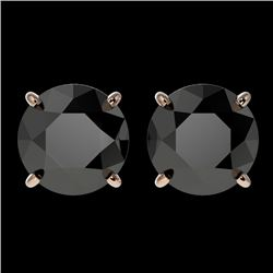 3.10 CTW Fancy Black VS Diamond Solitaire Stud Earrings 10K Rose Gold - REF-65K5W - 36695
