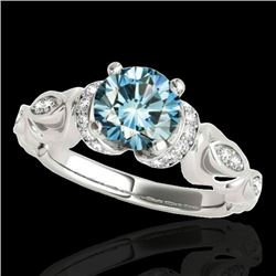 1.2 CTW Si Certified Fancy Blue Diamond Solitaire Antique Ring 10K White Gold - REF-161W8F - 34680