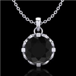 1.5 CTW Fancy Black Diamond Solitaire Art Deco Stud Necklace 18K White Gold - REF-89T3M - 37380