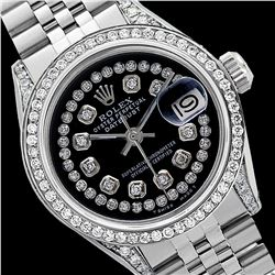 Rolex Ladies Stainless Steel, Diamond Dial & Diamond Bezel, Sapphire Crystal - REF-449W7H