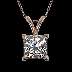 1 CTW Certified VS/SI Quality Princess Diamond Solitaire Necklace 10K Rose Gold - REF-265H3A - 33196