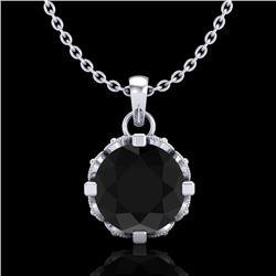 1.14 CTW Fancy Black Diamond Solitaire Art Deco Stud Necklace 18K White Gold - REF-81N8Y - 37373
