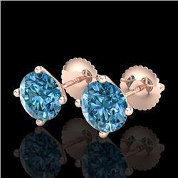 2.5 CTW Fancy Intense Blue Diamond Art Deco Stud Earrings 18K Rose Gold - REF-354K5W - 38252