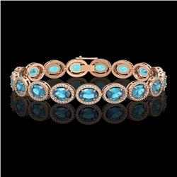 24.32 CTW Swiss Topaz & Diamond Halo Bracelet 10K Rose Gold - REF-252F8N - 40635