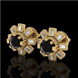 1.77 CTW Fancy Black Diamond Solitaire Art Deco Stud Earrings 18K Yellow Gold - REF-118H2A - 37865