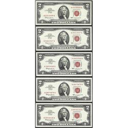 Lot of (5) 1963 $2 Legal Tender Notes