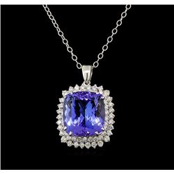 GIA Cert 19.42 ctw Tanzanite and Diamond Pendant With Chain - 14KT White Gold