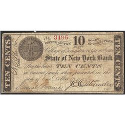 1862 Ten Cents State of New York Bank Obsolete Note