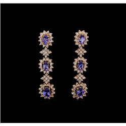 14KT Rose Gold 5.16 ctw Tanzanite and Diamond Earrings