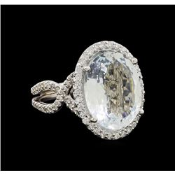 14KT White Gold 9.47 ctw Aquamarine and Diamond Ring