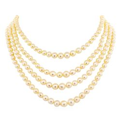 Four Strand Pearl Choker Necklace with 14KT White Gold