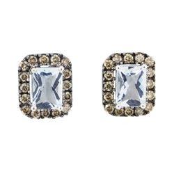 2.38 ctw Aquamarine and Diamond Earrings - 14KT White Gold