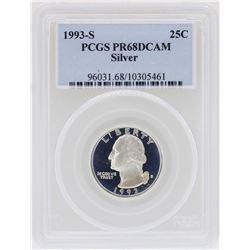 1993-S Washington Quarter Silver Coin PCGS PR68DCAM