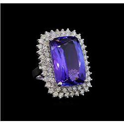 GIA Cert 26.67 ctw Tanzanite and Diamond Ring - 14KT White Gold