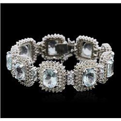 14KT White Gold 38.79 ctw Aquamarine and Diamond Bracelet