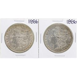 Lot of (2) 1886 $1 Morgan Silver Dollar Coins