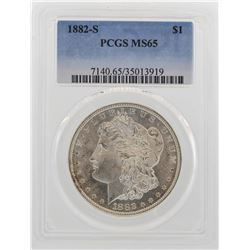1882-S $1 Morgan Silver Dollar Coin PCGS MS65