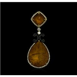 Natural Quartz and Diamond Pendant - 18KT Yellow Gold