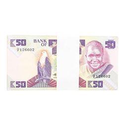 Pack of (99) Zambia 50 Kawacha Uncirculated Notes