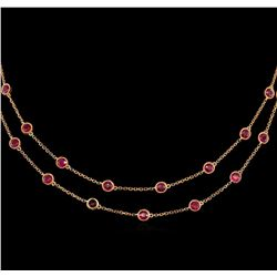 9.57 ctw Ruby Necklace - 18KT Rose Gold
