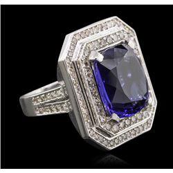 Platinum 15.86 ctw Tanzanite and Diamond Ring