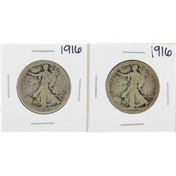 Lot of (2) 1916 Walking Liberty Half Dollar Silver Coins
