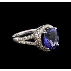 4.64 ctw Tanzanite and Diamond Ring - 14KT White Gold