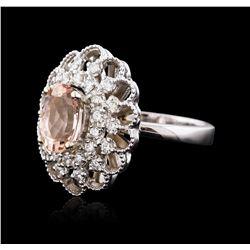 14KT White Gold 2.05 ctw Morganite and Diamond Ring