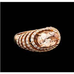 14KT Rose Gold 3.74 ctw Morganite and Diamond Ring