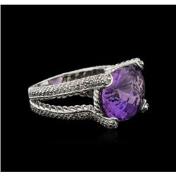 14KT White Gold 11.71 ctw Amethyst and Diamond Ring