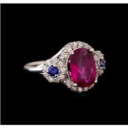 14KT White Gold 2.62 ctw Tourmaline, Sapphire and Diamond Ring