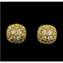 1.05 ctw Diamond Earrings - 14KT Yellow Gold