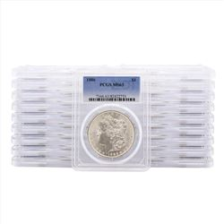 Lot of (20) 1886 $1 Morgan Silver Dollar Coins PCGS MS63