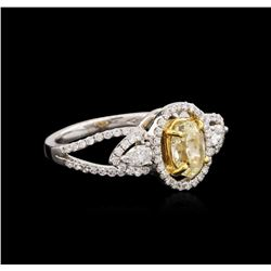 18KT Two-Tone Gold 1.22 ctw Fancy Yellow Diamond Ring