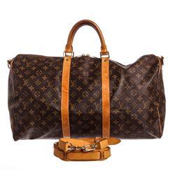 Louis Vuitton Monogram Canvas Leather Keepall 50 cm Bandouliere Duffle Bag