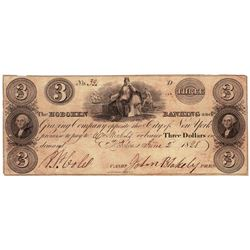 1828 $3 Hoboken Banking, NY Obsolete Bank Note