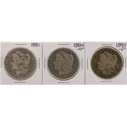 Lot of 1881, 1884-O & 1890-O $1 Morgan Silver Dollar Coins