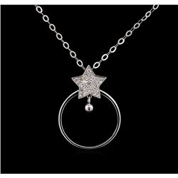 0.16 ctw Diamond Necklace - 14KT White Gold
