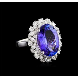 10.00 ctw Tanzanite and Diamond Ring - 14KT White Gold