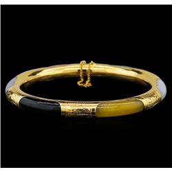 Jade Bangle Bracelet - 14KT Yellow Gold