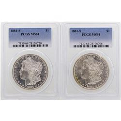 Lot of (2) 1881-S $1 Morgan Silver Dollar Coins PCGS MS64