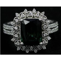 3.35 ctw Green Tourmaline and Diamond Ring - 14KT White Gold