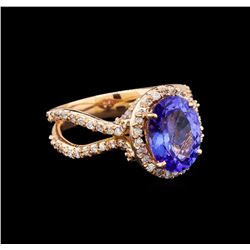 14KT Rose Gold 4.34 ctw Tanzanite and Diamond Ring