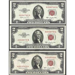 Lot of (3) 1953B $2 Legal Tender Notes